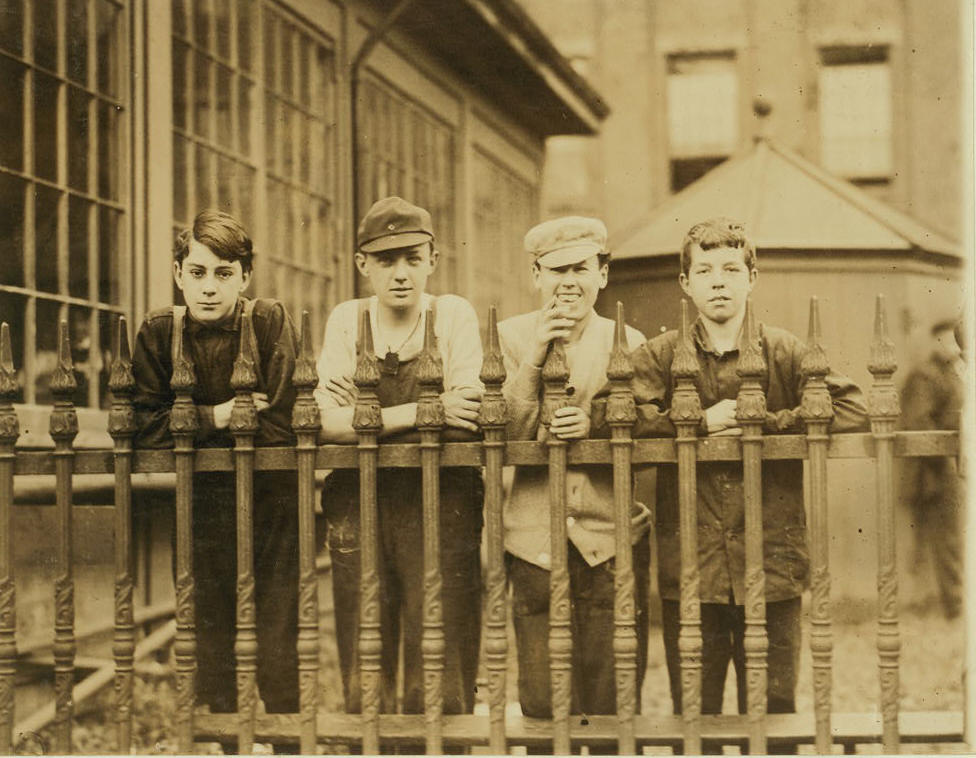 George Driscoll (right), 14 or 15, Lawrence, Mass., Nov 1910. Photo by Lewis Hine.