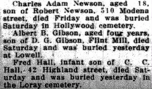 Newspaper death announcement for Giles Edmund Newsom, incorrectly named Charles Adam Newson.