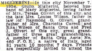 Excerpt from obituary in Sacramento Bee, November 8, 1954