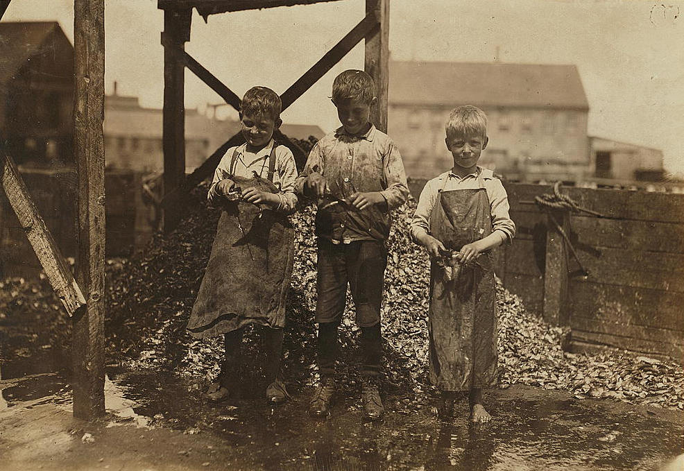 Grayson Forsyth (right), 6 yrs old, Eastport, ME, Aug 1911. Photo by Lewis Hine.