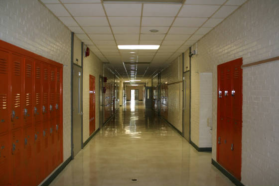 Hallway, first floor, Calvert Middle School (my former high school), 2009