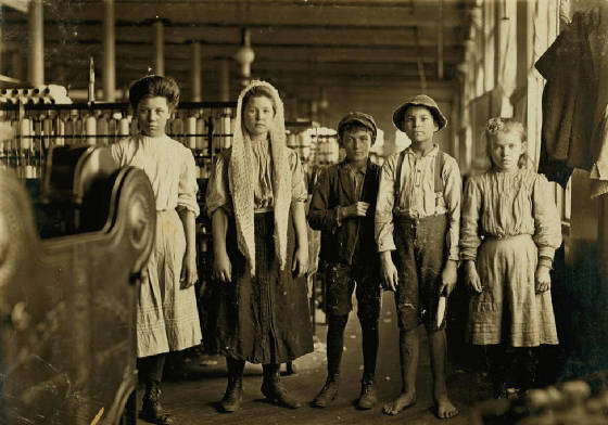Hattie Hunter (right), before changing dress, Lancaster, SC, Dec 1, 1908. Photo by Lewis Hine.