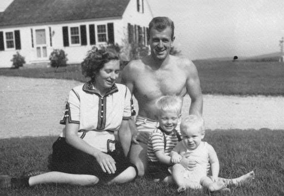 Joseph Nelson White III, wife Lucy, Joseph Nelson White IV, and Eric White (right), near guest house at Captain's Farm in Winchendon, Massachusetts, 1941.
