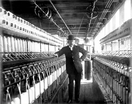 Joseph Nelson White, inside the Spring Village Mill, early 1900s.