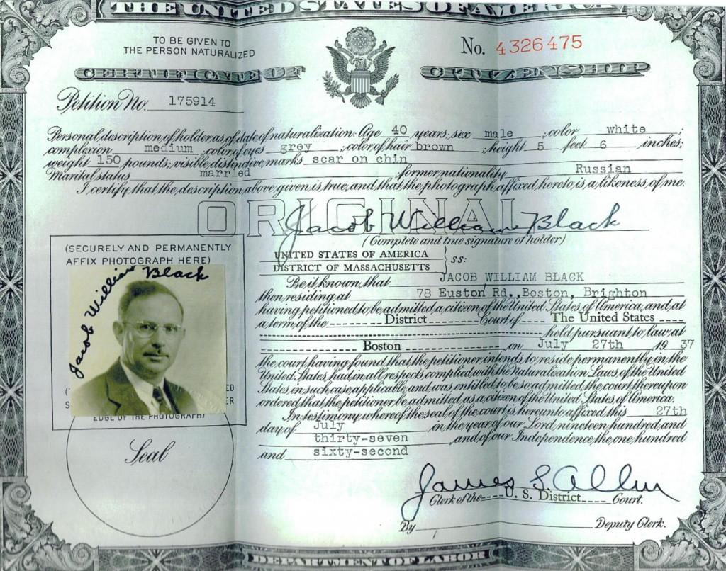 Jacob's naturalization certificate.