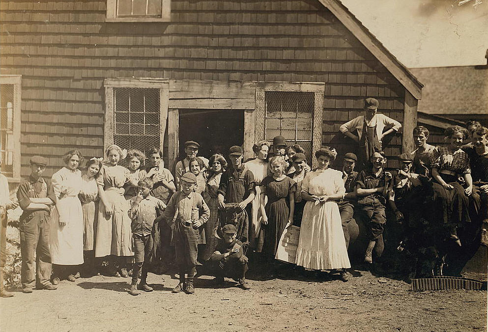 James McCutcheon (taller of two boys in front, hands on hips), Eastport, ME, Aug. 1911.