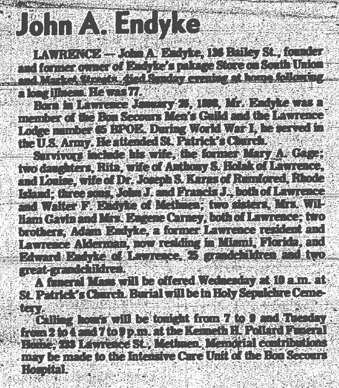 John Endyke: 1898 - 1975