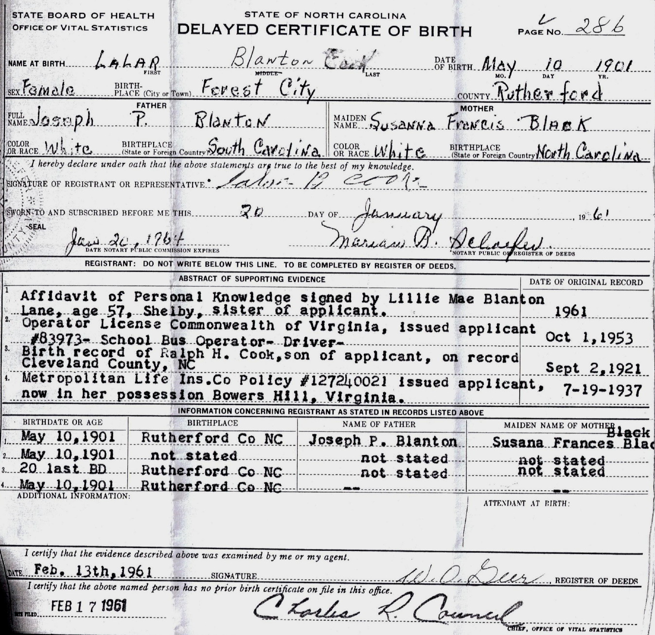 Lalar Blanton's delayed birth certificate.