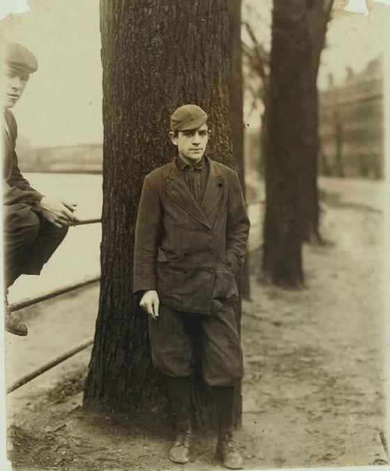Leon Valcourt, 15 years old, Lawrence, Massachusetts, November 1910. Photo by Lewis Hine.