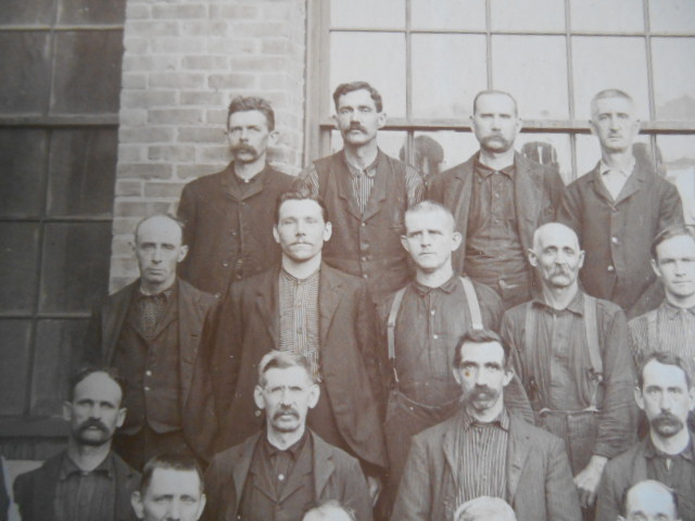 Mathias Marcil (top row, 2nd from left) at Renfrew mill. Adams Hist. Soc.
