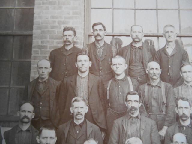 Mathias Marcil (top row, 2nd from left) at Renfrew mill. Adams Hist. Soc.