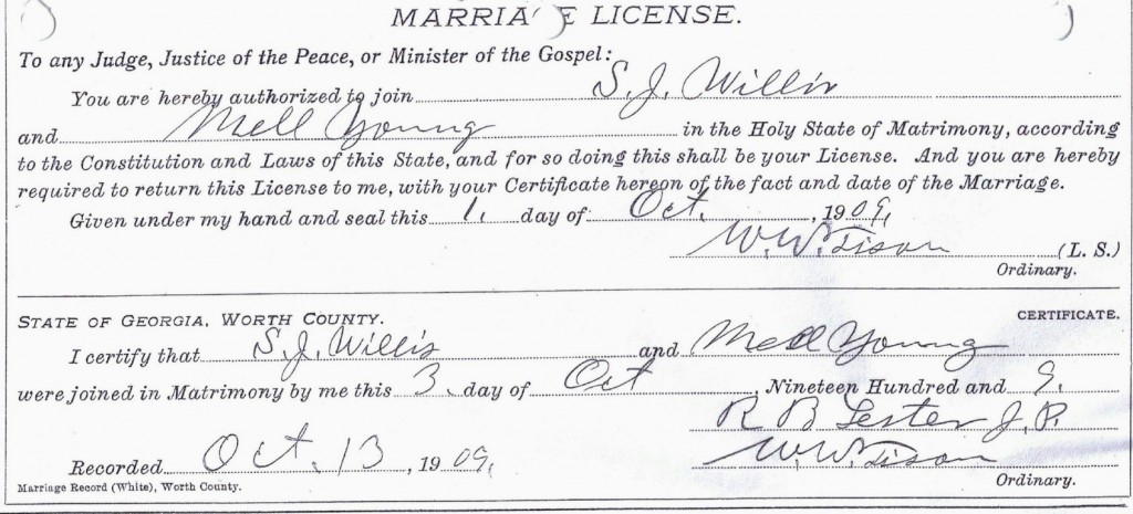 Mell and Samuel Willis Marriage License