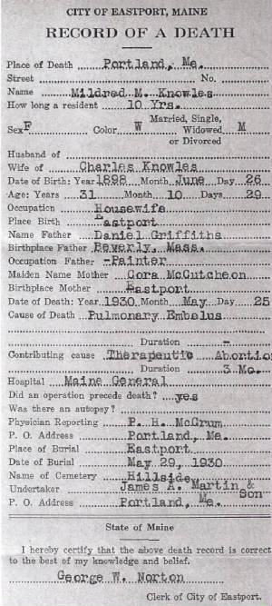 Mildred's Death Certificate