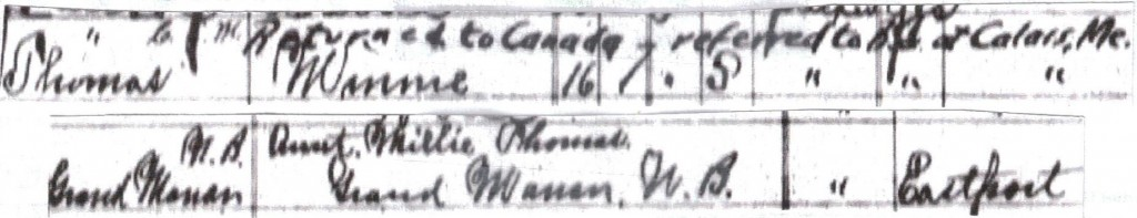 1917 record of crossing border from Grand Manan to Eastport.