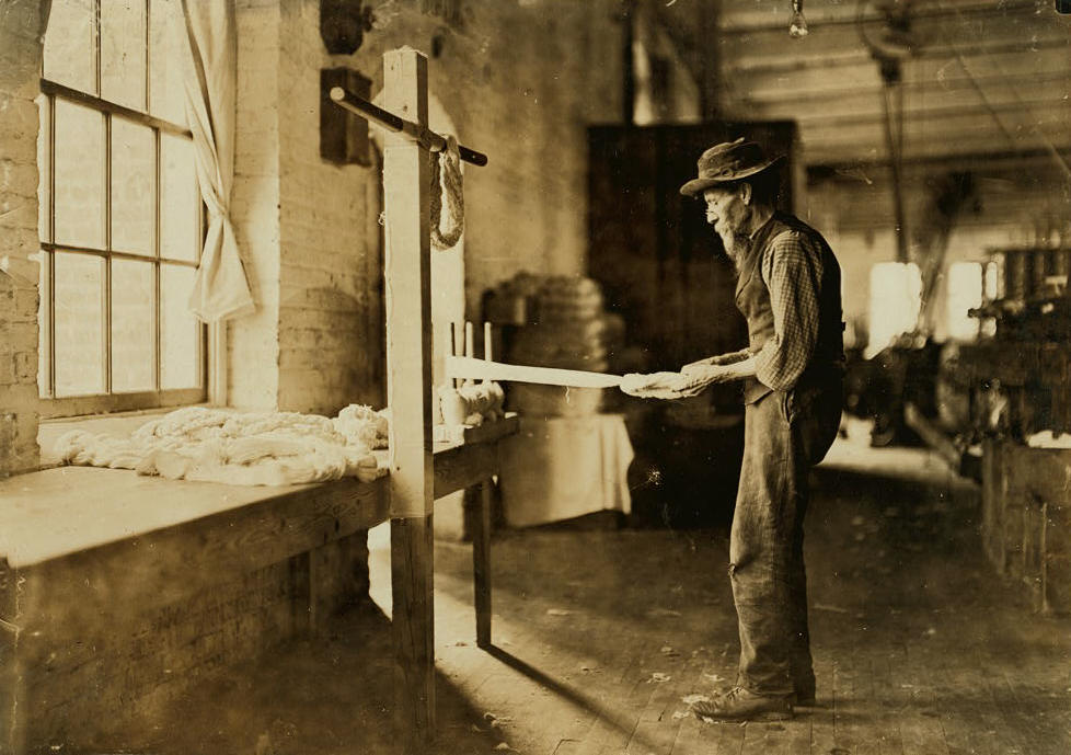 The only other photograph that Lewis Hine took at the Rhodes Mfg. Company mill.