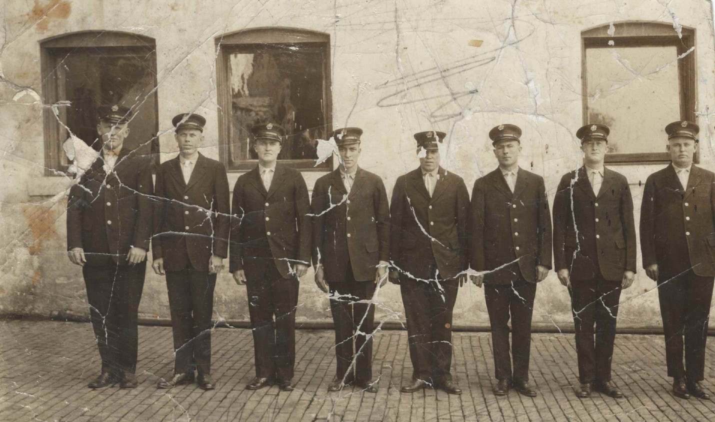 Otto Shelton (4th from left) when he worked for the fire department.