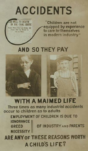 Giles Newsom pictured on National Child Labor Committee poster.