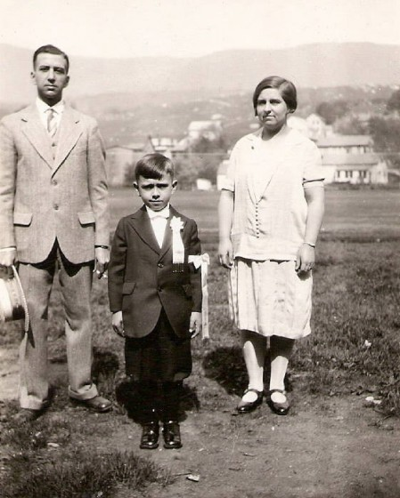 Oliver Marcil with parents on First Communion day, 1930.