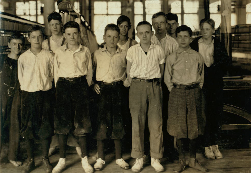 Sylva Marcil (far right, front row), Adams, MA, July 10, 1916. Photo by Lewis Hine.