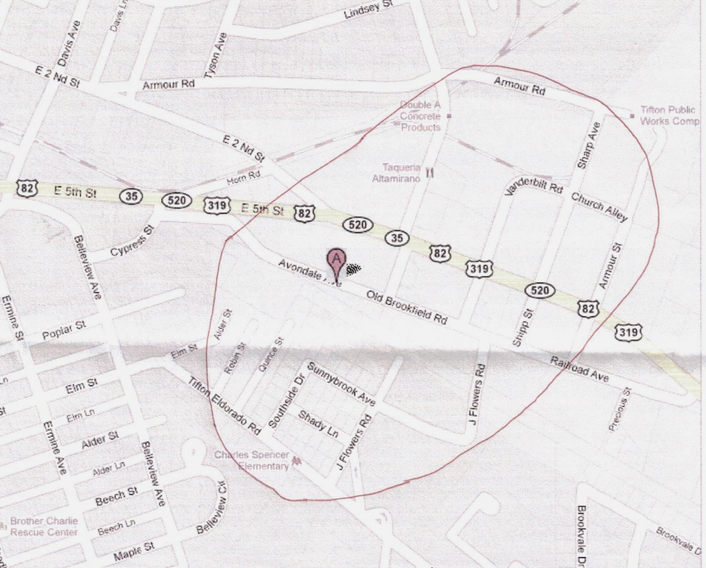 "From Google Maps (2011), location of former Tifton Cotton Mills (red ""A""),"