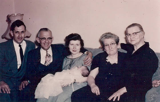 Ron Gagnon's christening, 1956. (L-R): Adelard A. Gagnon (Adelard's son, Ron's father), Adelard O. Gagnon, Theresa Gagnon (Ron's mother), Maria Gagnon (Adelard's wife), and Mathilda Leclerc (Ron's maternal grandmother).