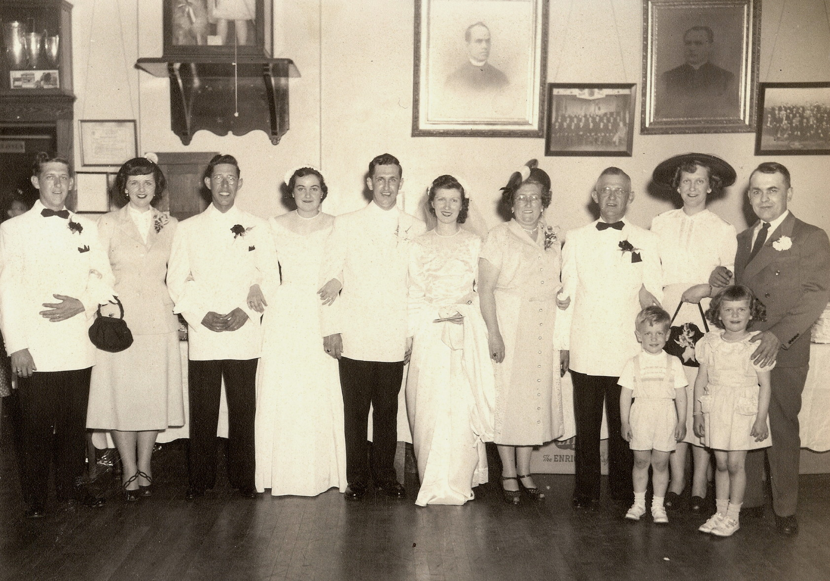 Wedding of Ron's parents, Adelard and Theresa, 1951.  (L-R): George Gagnon (Adelard's youngest son), Norma (George's wife), Edward Gagnon (Adelard's oldest son), Lucille (Edward's wife), Adelard A. Gagnon (Adelard's second oldest son and Ron's father), Theresa (Adelard's bride), Maria Gagnon (Adelard's wife), Adelard Gagnon, Malvina Gagnon Nolet (Adelard's only daughter), Leo (Malvina's husband), and Leo and Sharleen (Malvina's children).