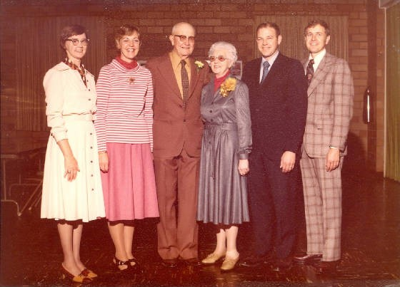 (L-R): Darlene, Delores, Forrest, Ruth, Dale, Duane, 50th wedding anniversary, 1977.