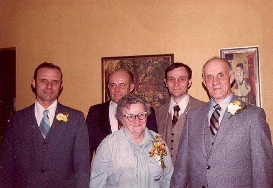 Hugo & Clara Umhoefer, 50th wedding anniversary, with their sons: (L-R) Marvin, Joseph & Ronald.