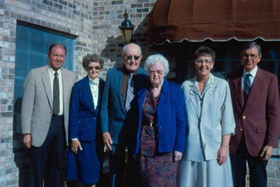 (L-R): Dale, Darlene, Forrest, Ruth, Delores, Duane, 61st wedding anniversary, 1988.