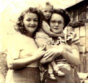 Agnes Blizzard (left), with cousin and cousin's child.