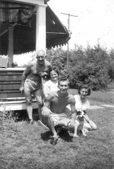 Arthur Havard, wife Stella & children Kenneth and Shirley, at cottage at Newton Lake.
