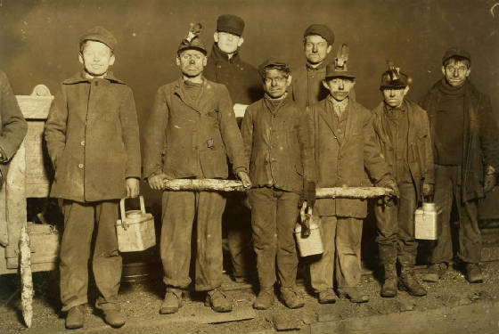 Arthur Havard (4th from left), South Pittston, PA, Dec 1910 or Jan 1911. Photo by Lewis Hine.