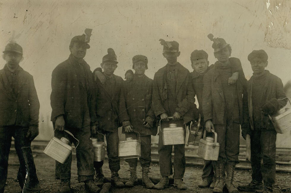 Arthur Havard (3rd from left), South Pittston, PA, Jan 1911. Photo by Lewis Hine.