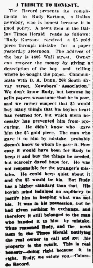 Daily Bulletin, Colorado City, Texas, August 3, 1912.