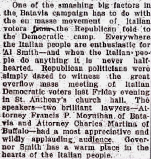 Batavia Times, Oct. 13, 1928. Note mention of Anthony's brother Charles, and presidential election.