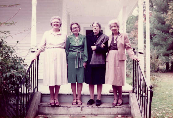 Betsy Price and her three sisters, on the same porch where Hine photographed her in 1921. Betsy would have been sitting at the end of the section of the porch to our left. Pictured left to right: Jane Price Sharp, Florence Price McNeel, Betsy Price Green and Ann Price Hubard.