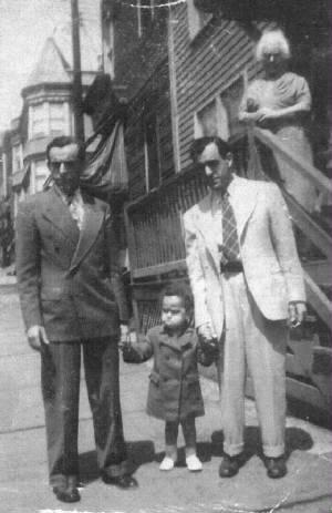 (L-R): Edward, Ralph (Carmine's son), Carmine, and Bertha Zizza, the boys' mother. About 1944.