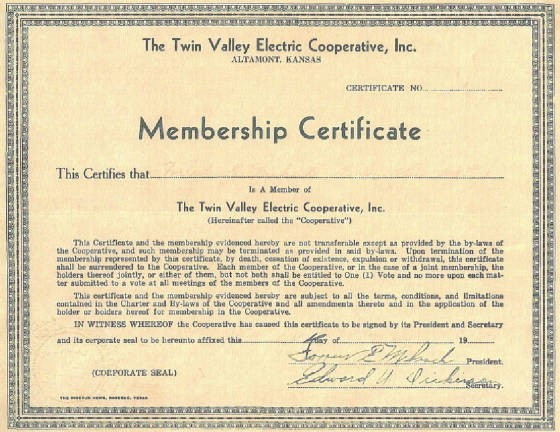 Forrest Miksch's certificate for Twin Valley Electric Co-op, 1947. Name and date have faded.