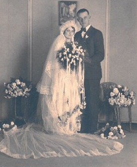 Hugo and Clara Umhoefer on their wedding day, 1930. This and anniversary photo provided by family.