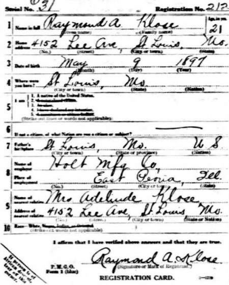 1918 draft registration
