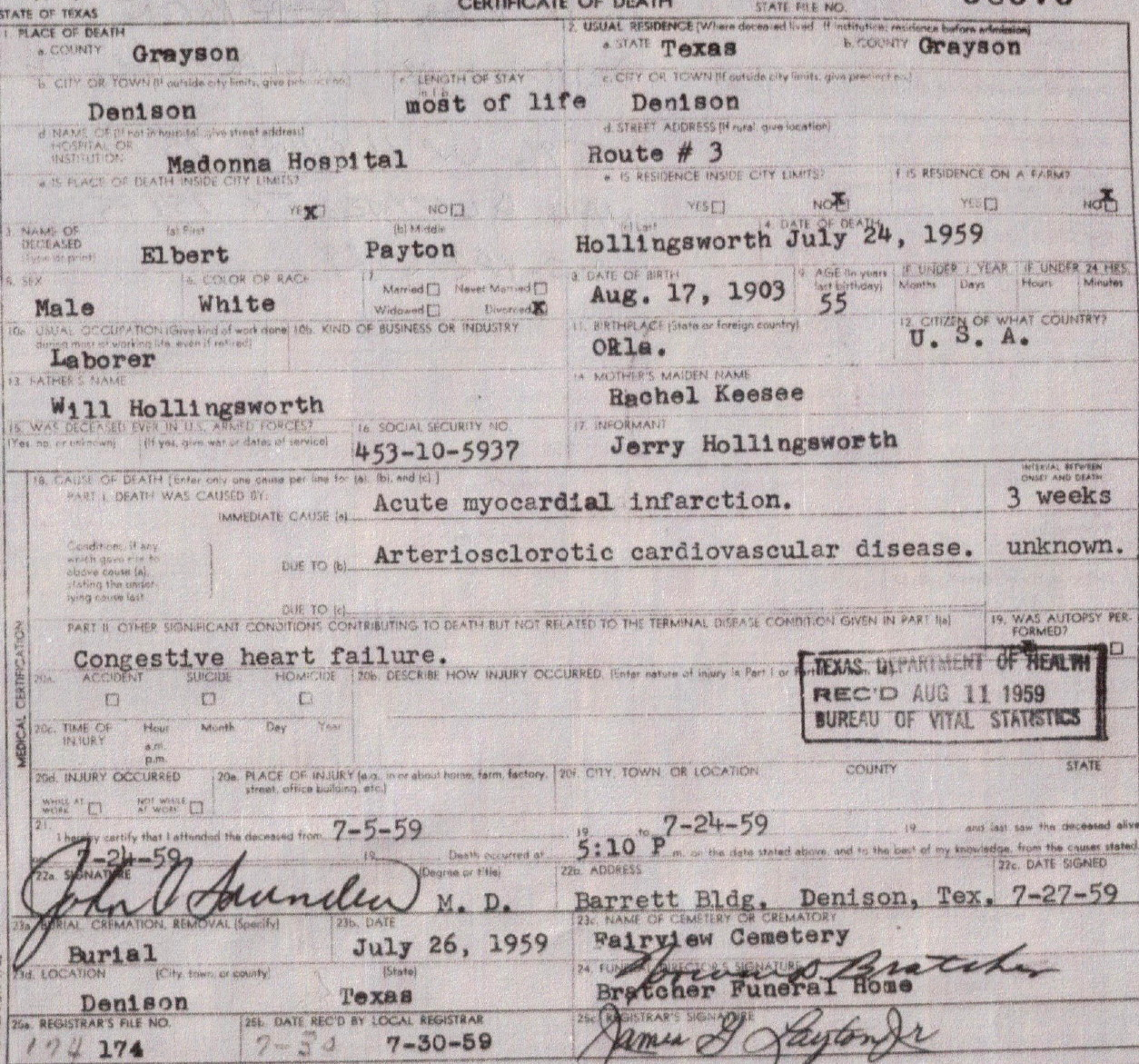 Elbert Hollingsworth's death certificate.