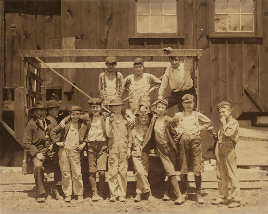 Joseph and Frank Dwyer & Henry Maul, Alton, IL, May 17, 1910. By Lewis Hine.