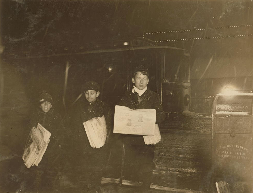 Guy Casaceli (center), 12 yrs old, Rochester, NY, Feb. 1910. Photo by Lewis Hine.