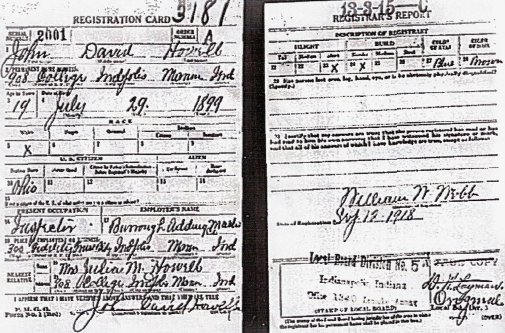John Howell's 1918 draft registration.
