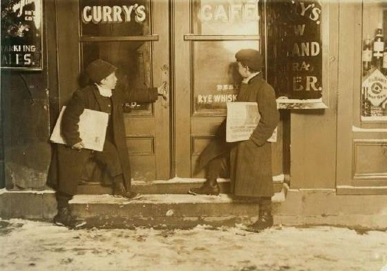 Joseph (left), 10, & Meyer Bishop, 12, Hartford, Connecticut, March 6, 1909. Photo by Lewis Hine.