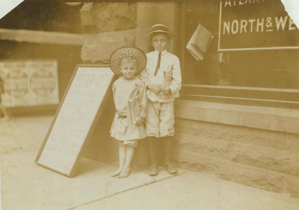 Julius (5) & Gus Hodges (11), Norfolk, Virginia, June 1911. Photo by Lewis Hine.