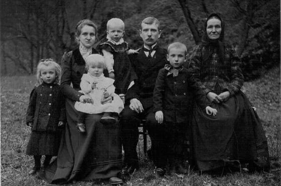 Fannie and Anton Kartous with four of their children and Fannie's mother (her name unknown). Based on census information regarding names and ages, the children are (L-R): Marie, Rudolph, Louis and Tony. The photograph would have been taken about 1906. This and the two photos directly below provided by the Kartous family.