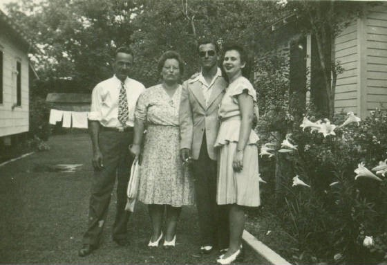Lazaro and Bertha Boney, son Elwood, and Elwood's wife Mercedes, 1947.