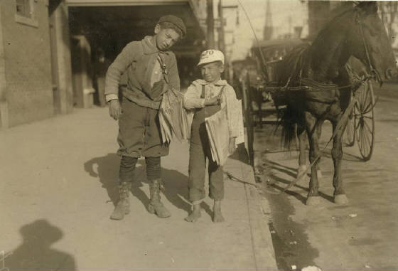 (L-R) Morris (12) & Louis Shuman (7), Dallas, TX, October 1913. Photo by Lewis Hine.