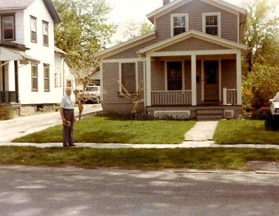 Marshall Knox at boyhood home at 23 Hamilton St, now numbered 63 Hamilton St.
